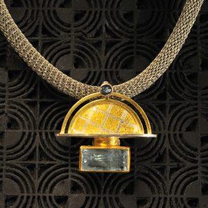 Goldschmiede karlsruhe unikatschmuck riegels-winsauer aquamarin silber gold collier