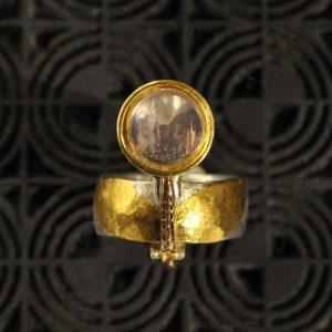 Goldschmiede karlsruhe unikatschmuck riegels-winsauer turmalin Rosenquarz Ring Gold silber
