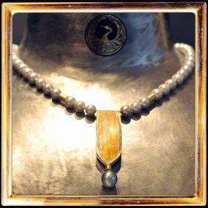 Barock-Perle, Süßwasserperl-Kette, Feingold, Sterlingsilber
