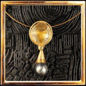 Große schwarze Tahiti-Perle, Massiv-Gold, Feingold, Silber