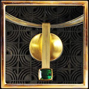 Turmalin-Collier, Gelbgold, Feingold, Silber