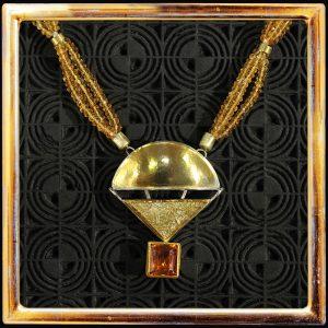 Goldtopas-Collier in Form einer Montgolfiere, Feingold, Silber, Goldtopasketten