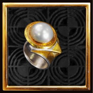 Perl-Ring, Feingold Silber, Mabe-Perle