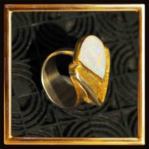 Opal-Ring, Feingold, Silber