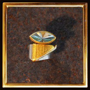 Ring Aquamarin Navetteschliff, Feingold, Silber